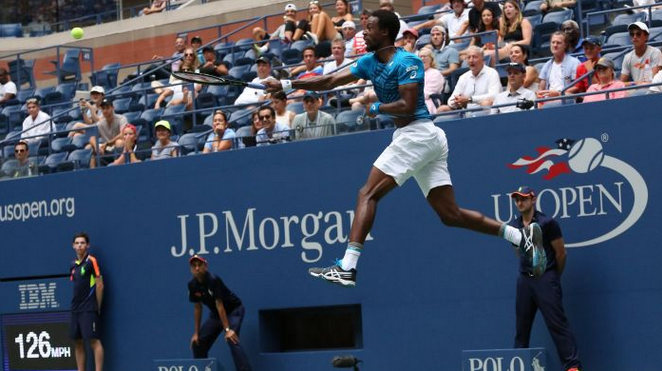 Tennis Player Gael Monfils Returns Serve