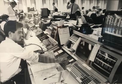 Mrcus Paldley working at Wood Mackenzie in London in 1982