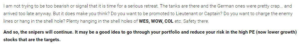 Sell now don't pay later APT ASX -APT_WES WOW COL